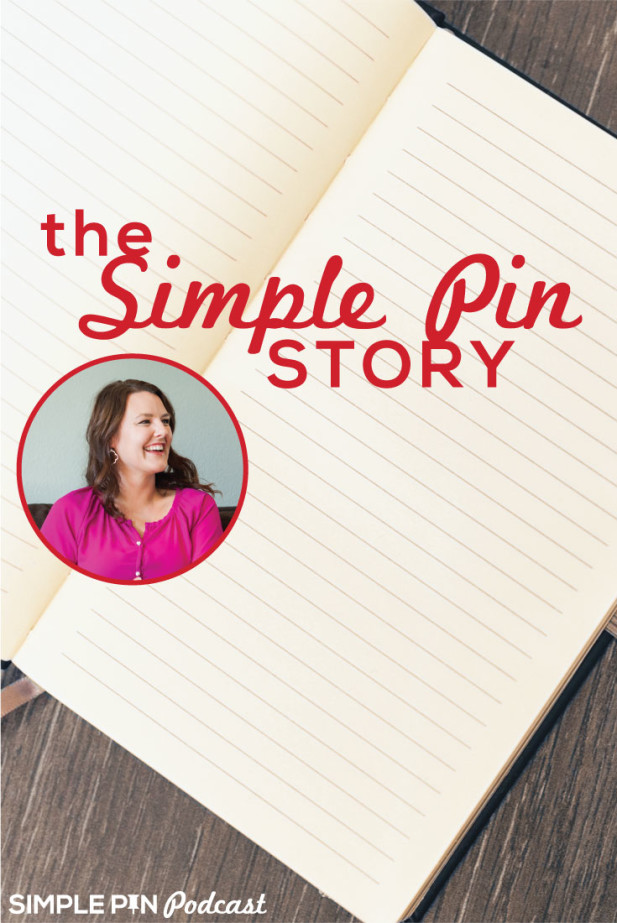 "Notebook, picture bubble of Kate Ahl and text overlay ""The Simple Pin Story""."