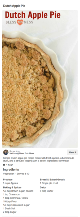 Dutch Apple Pie Recipe pin in a close up view on Pinterest.