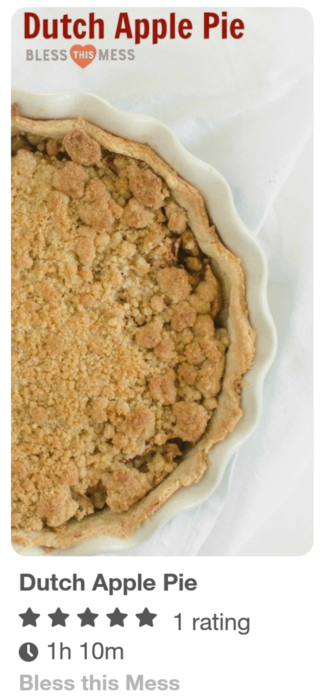 Dutch Apple Pie Recipe pin in the Pinterest feed.