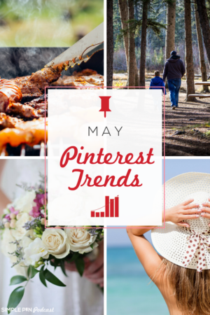 "Photo collage of content ideas to pin on Pinterest in May with text overlay that reads ""May Pinterest Trends"""
