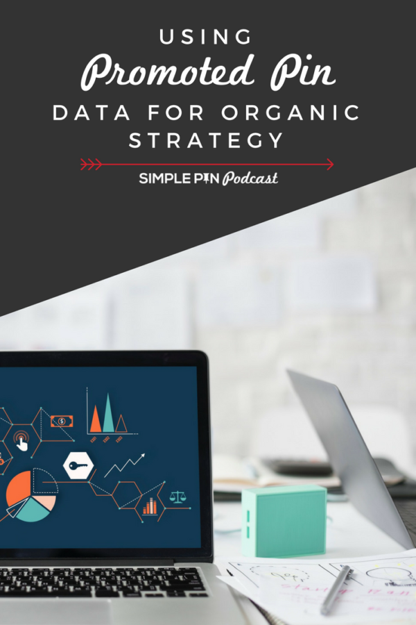 Data on laptop - text on image using promoted pin data for organic strategy