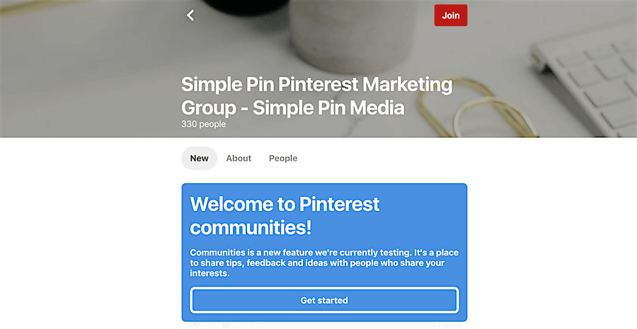 Screenshot of Pinterest communities welcome page.