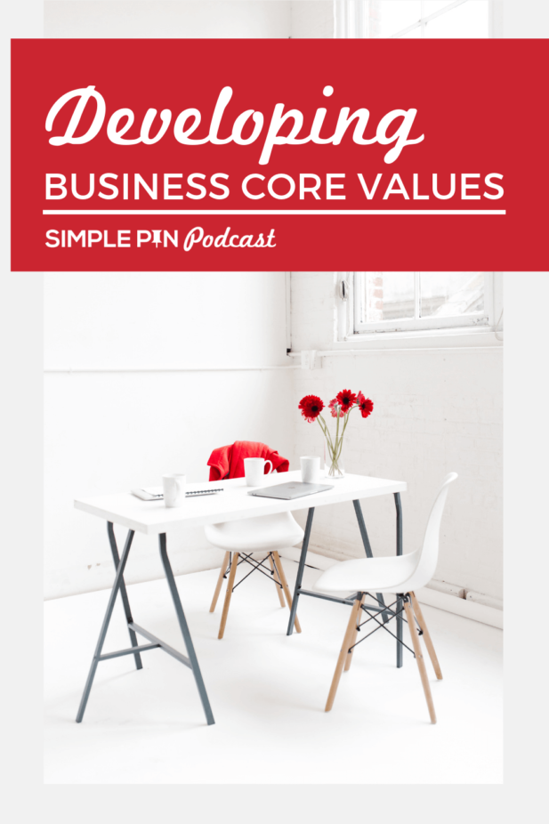 """White table and chairs in white room; text overlay """"Developing business core values""""."""