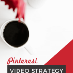 """table top with flowers and coffee cup, with text overlay """"Pinterest video strategy"""""""