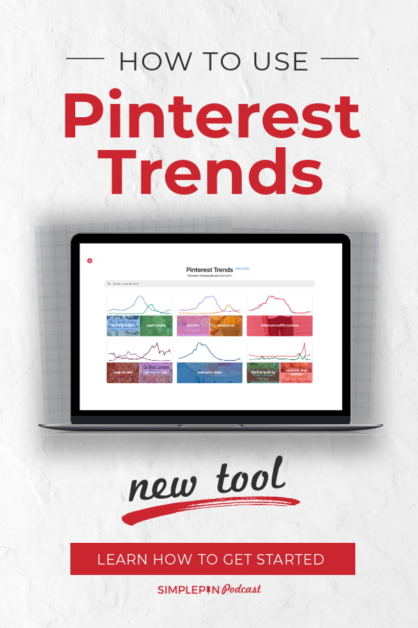 "computer screen showing Pinterest trends tool and text overlay: ""How to Use Pinterest Trends. New Tool: Learn How to Get Started""."