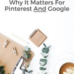 "desktop with calendar and coffee cup. Text overlay ""SEO: Why it matters for Pinterest and Google"""