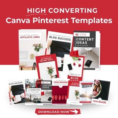 "collage of pinterest pin images. Text overlay ""High Converting Canva Pinterest Templates"""