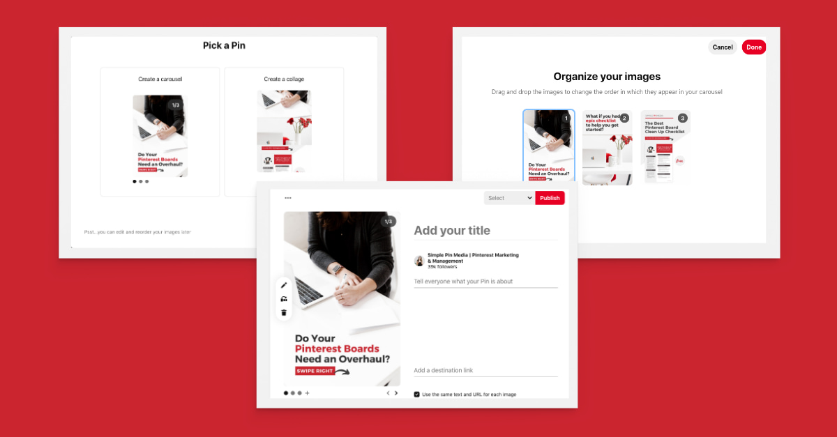 screenshots illustrating how to create Pinterest carousel pins