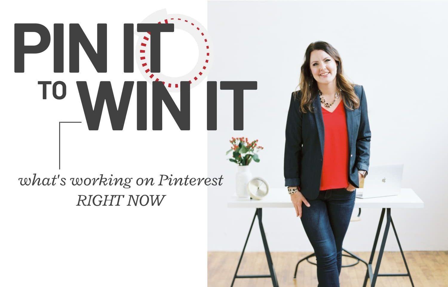"""fashionable woman standing - text """"pin it to win it - what's working on pinterest right now""""."""